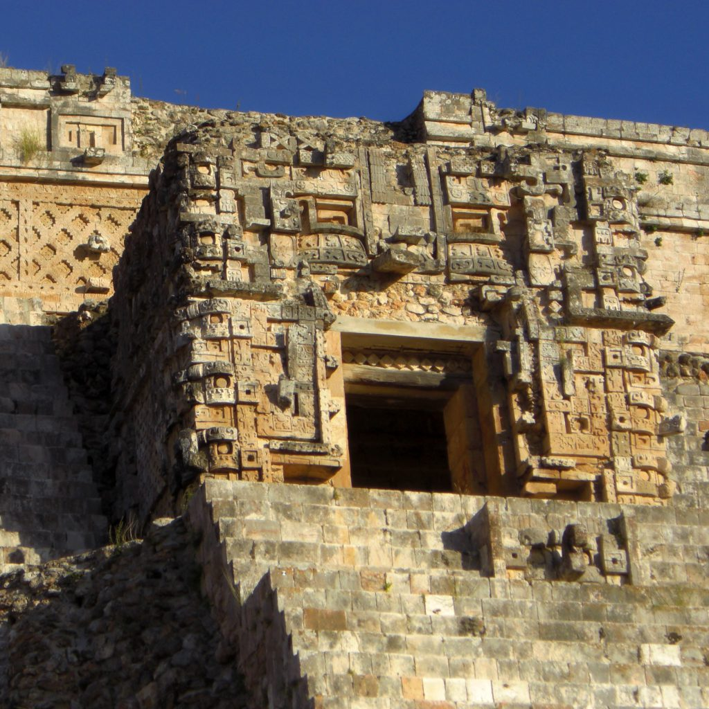 The tmple at the top of thy Pyramid of the Magician in Mexico