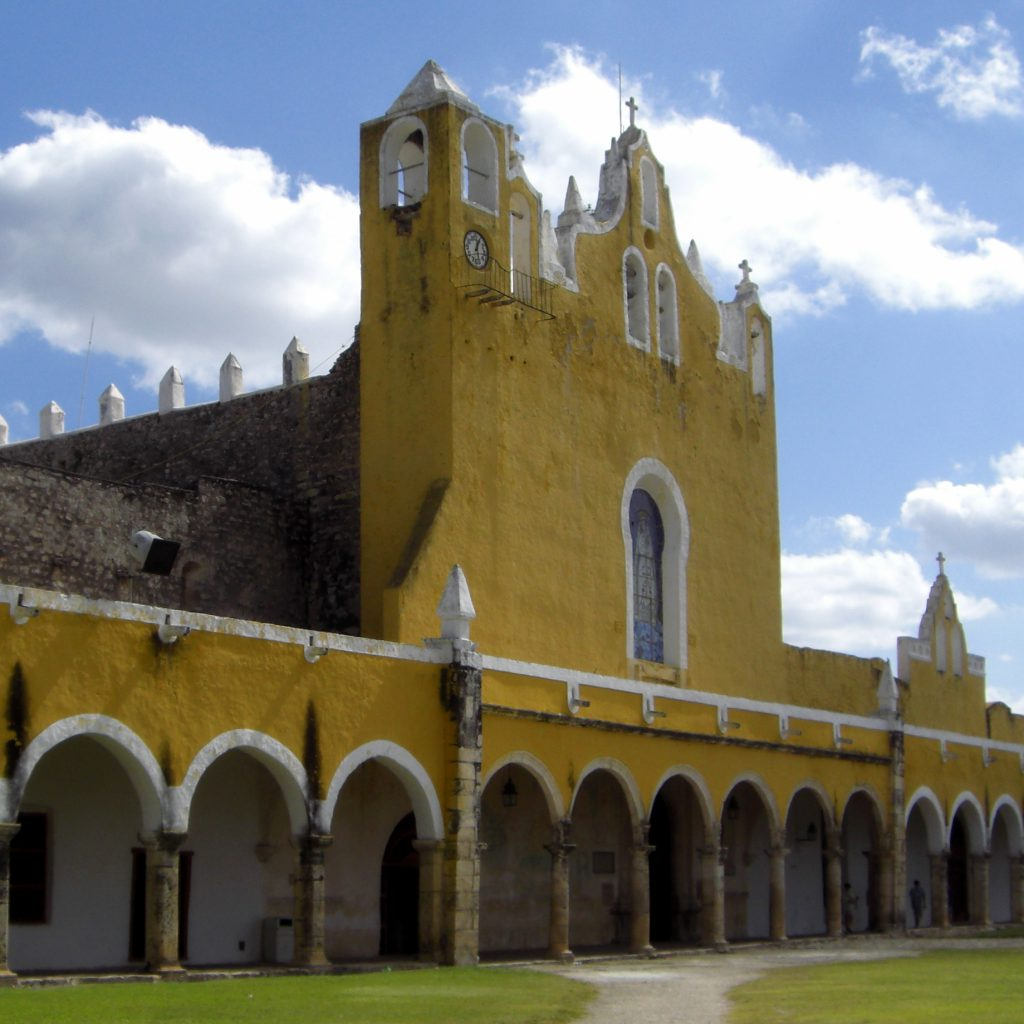 The atrium of the monastery in Izamal