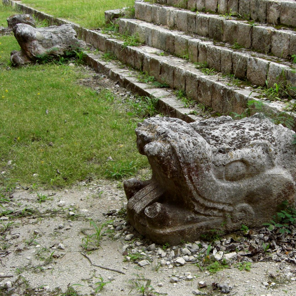 Snake heads in Chichen Itza
