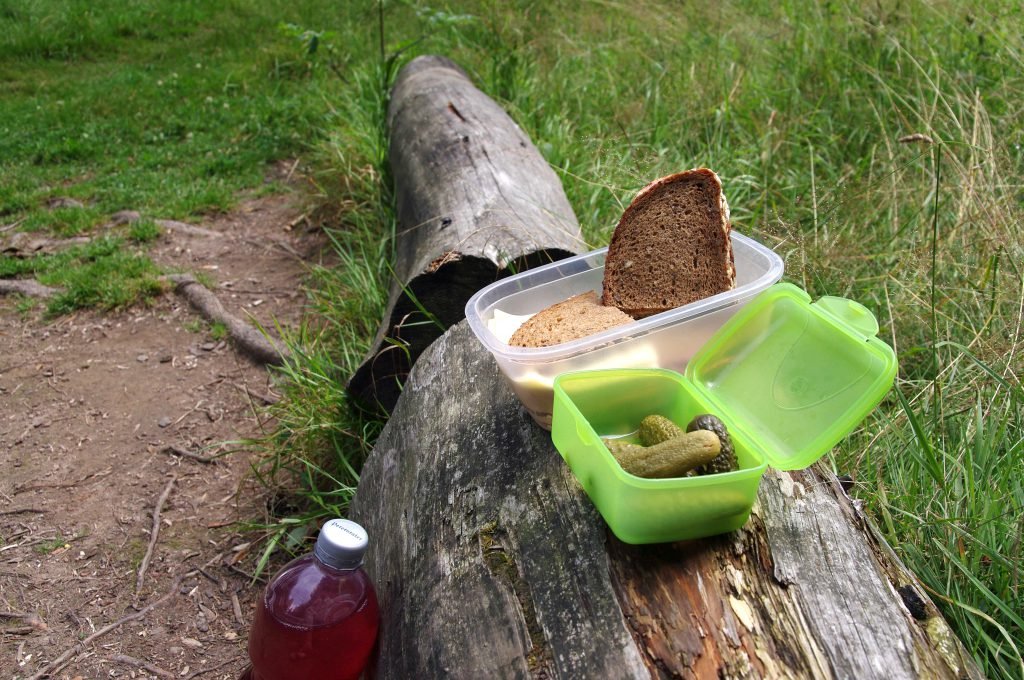 Wurst- und Käsebrot mit sauren Gurken - und Himbeerlimo (selber gemixt)