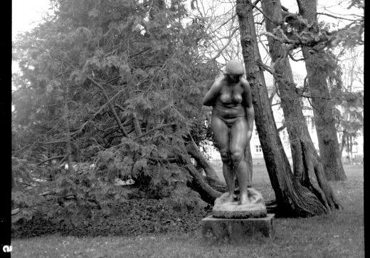 Statue im botanischen Garten Karlsruhe aufgenommen mit einer Zeiss Ikon Tengor Box 55/2 mit Goerz Frontar 105mm/1:11 auf Fomapan 100